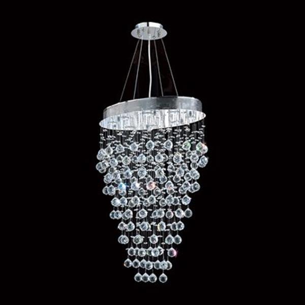 Worldwide Lighting Icicle 8-Light Polished Chrome Crystal Oval Pendant Light