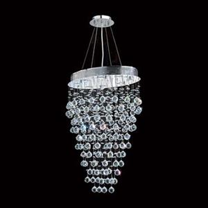 Worldwide Lighting Icicle 8-Light Polished Chrome Crystal Oval Pendant Light