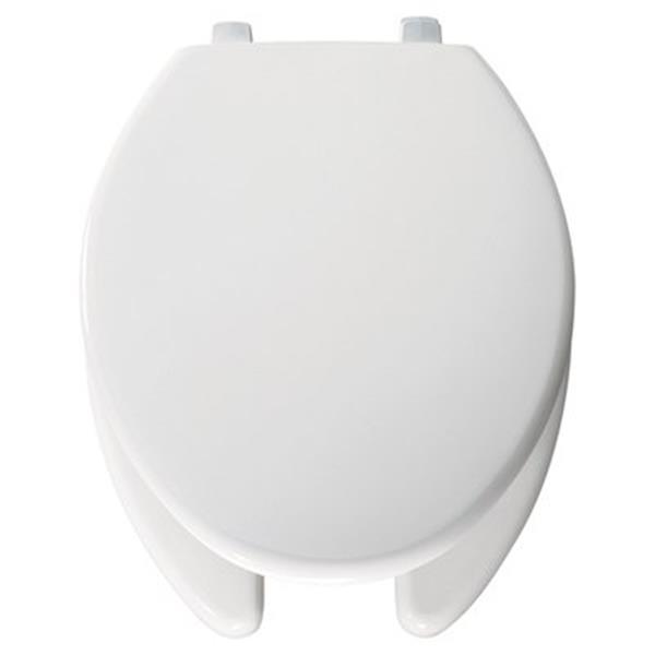 Bemis Just Lift Elongated White Plastic Toilet Seat