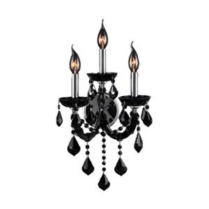 Worldwide Lighting Lyre Collection Polished Chrome Black 3-Light Wall Sconce