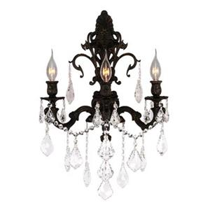 Worldwide Lighting Versailles Collection Antique Bronze 3-Light Wall Sconce