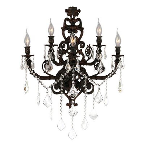 Worldwide Lighting Versailles Collection Flemish Brass 5-Light Wall Sconce
