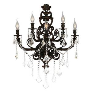 Worldwide Lighting Versailles Collection Flemish Brass 5-Light Wall Sconce