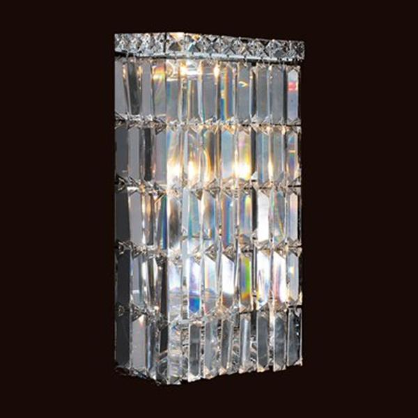 Worldwide Lighting Cascade Collection Polished Chrome Clear 4-Light Crystal Wall Sconce