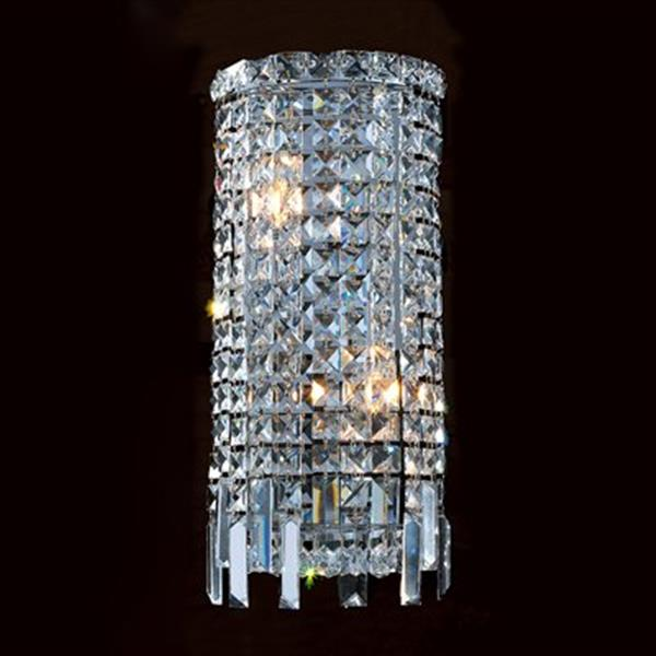 Worldwide Lighting Cascade Collection Polished Chrome Clear 2-Light Crystal Wall Sconce