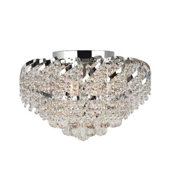 Worldwide Lighting 3-Light Empire Crystal Flush Mount Ceiling Light
