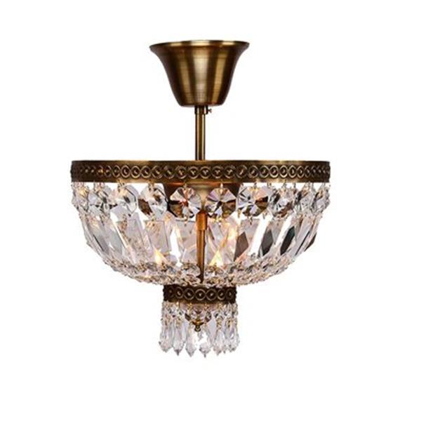 Worldwide Lighting Metropolitan Antique Bronze Crystal Semi Flush Ceiling Light
