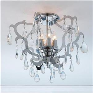 Worldwide Lighting Henna 6-Light Polished Chrome Crystal Semi Flush Ceiling Light