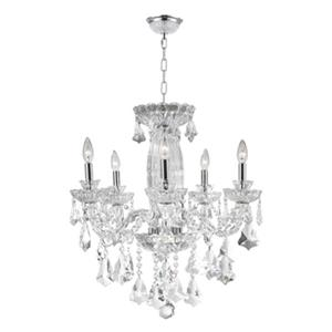 Worldwide Lighting Olde World 25-in Polished Chrome Clear 5-Light Crystal Chandelier