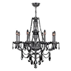 Worldwide Lighting Provence 30-in Polished Chrome Smoke 8-Light Chandelier