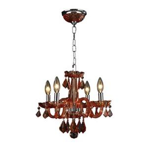 Worldwide Lighting Clarion 12-in Polished Chrome Coral red 4-Light Chandelier