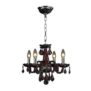 Worldwide Lighting Clarion 12-in Polished Chrome Cranberry 4-Light Chandelier