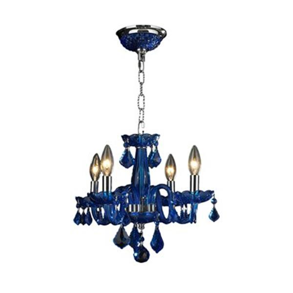 Worldwide Lighting Clarion 12-in Polished Chrome Sapphire 4-Light Chandelier