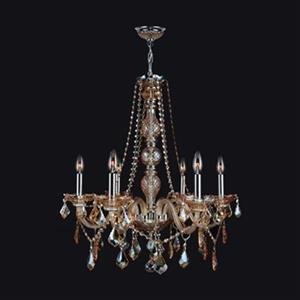 Worldwide Lighting Provence 28-in Polished Chrome Amber 6-Light Chandelier