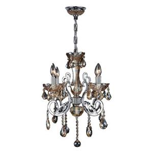 Worldwide Lighting Kronos 24-in Polished Chrome Amber 4-Light Chandelier
