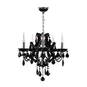 Worldwide Lighting Lyre 18-in Polished Chrome Black 5-Light Chandelier