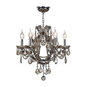 Worldwide Lighting Lyre 19-in Polished Chrome Goldent Teak 6-Light Chandelier
