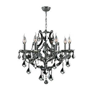 Worldwide Lighting Lyre Collection 72-in Polished Chrome Black 8-Light Chandelier