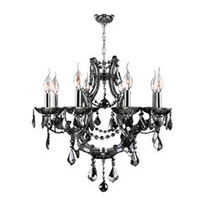 Worldwide Lighting Lyre Collection 72-in Polished Chrome Smoke 8-Light Chandelier