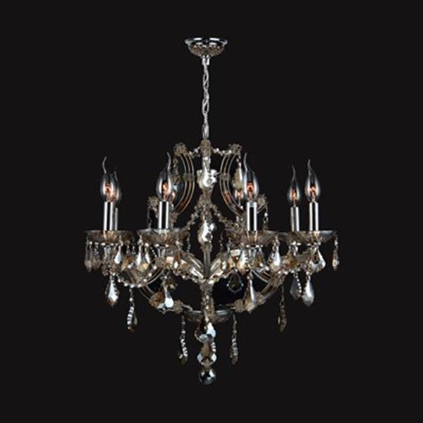 Worldwide Lighting Lyre Collection 72-in Polished Chrome Golden Teak 8-Light Chandelier