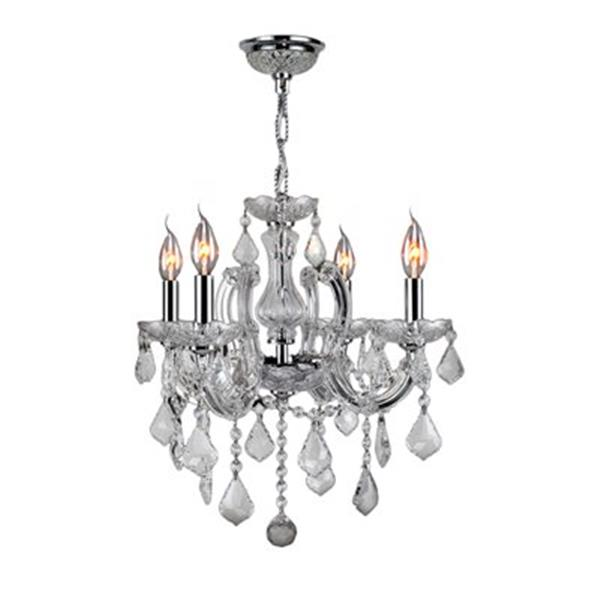 Worldwide Lighting Catherine Collection 72-in Polished Chrome Clear 4-Light Chandelier