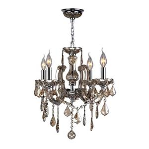 Worldwide Lighting Catherine Collection 72-in Polished Chrome Amber 6-Light Chandelier