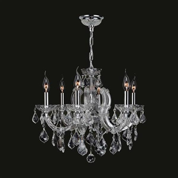 Worldwide Lighting Catherine Collection 72-in Polished Chrome Clear 6-Light Chandelier