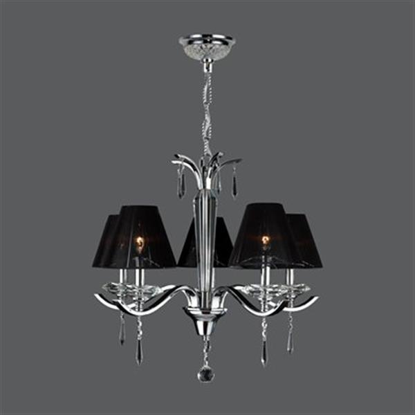 Worldwide Lighting Gatsby Collection 72-in Polished Chrome 5-Light Chandelier