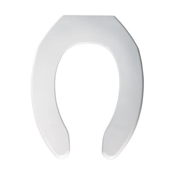 Bemis Elongated Commercial Plastic White Toilet Seat