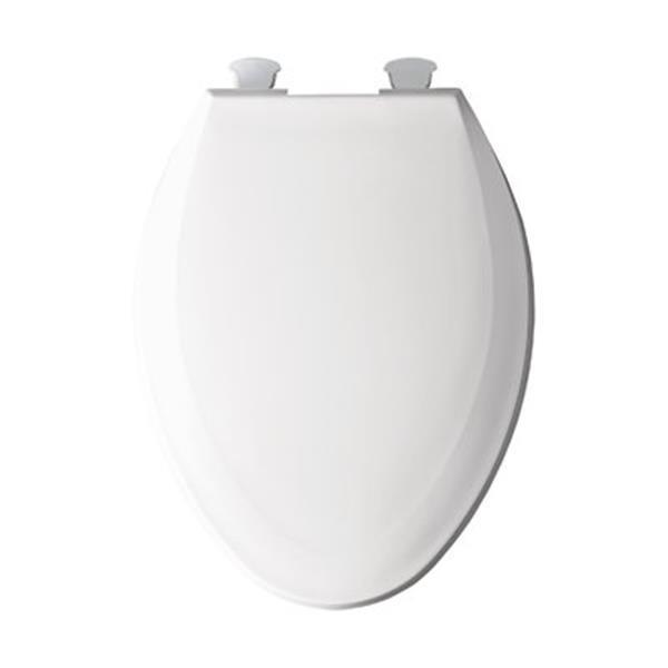 Bemis Elongated Easy-Clean and Change Hinge White Plastic Toilet Seat