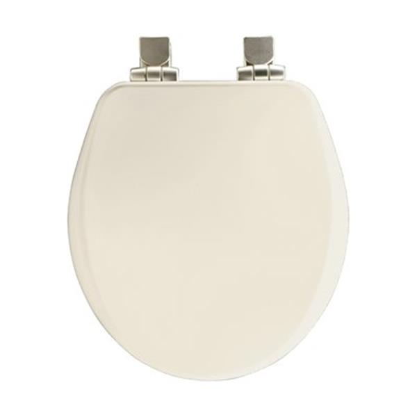 Bemis Round Commercial Open Front With Cover Off-White Plastic Toilet Seat