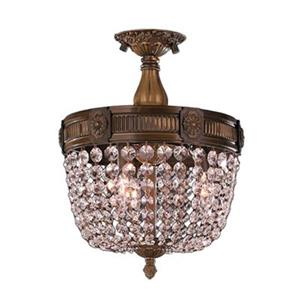 Worldwide Lighting Winchester 3-Light 24-in Antique Bronze Crystal Round Semi Flush Ceiling Light