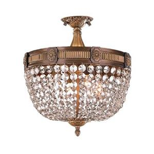 Worldwide Lighting Winchester 16-in Antique Bronze Semi Flush Mount Ceiling Light
