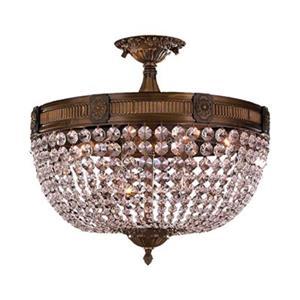 Worldwide Lighting Winchester 20-in Antique Bronze Semi Flush Mount Ceiling Light