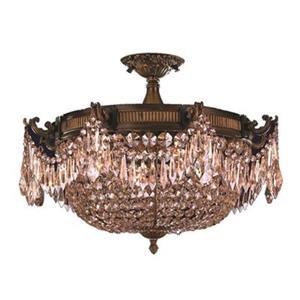 Worldwide Lighting Winchester 4-Light 24-in Antique Bronze Semi Flush Ceiling Light