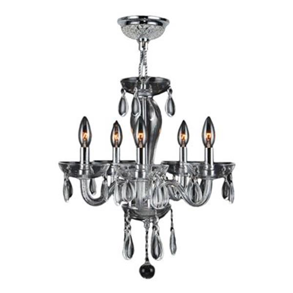 Worldwide Lighting Gatsby Collection 48-in Polished Chrome Clear 5-Light Blown Glass Mini Chandelier