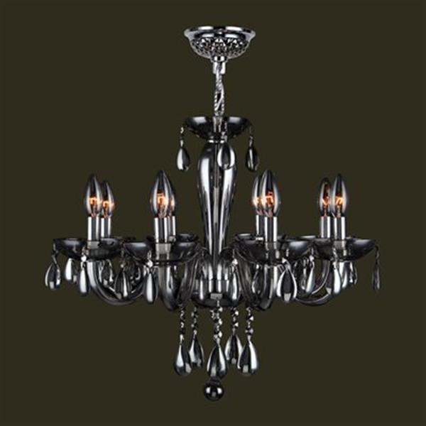 Worldwide Lighting Gatsby Collection 72-in Polished Chrome Smoke 8-Light Blown Glass Medium Chandelier