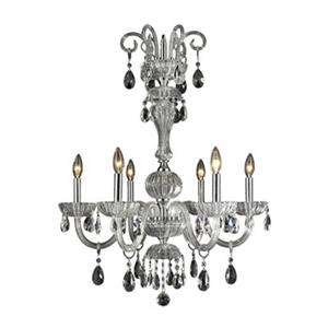 Worldwide Lighting Carnivale Collection 72-in Polished Chrome Clear 6-Light Chandelier