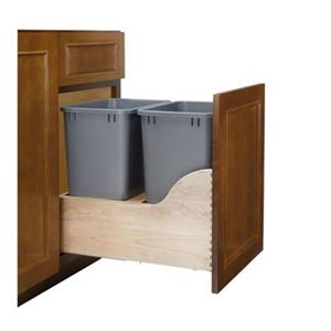 Rev-A-Shelf Grey Double Pull Out Waste Container