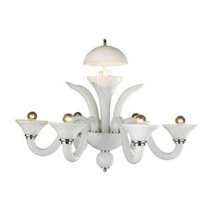 Worldwide Lighting Murano Venetian Polished Chrome 6-Light Blown Glass Chandelier