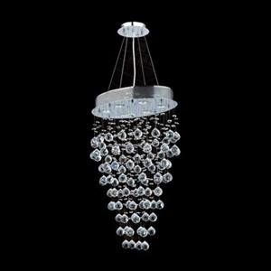 Worldwide Lighting 6-Light Icicle Polished Chrome Crystal Oval Pendant Light