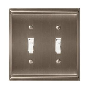 Amerock Canada Candler Satin Nickel 2-Toggle Wall Plate
