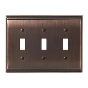 Amerock Canada Candler Oil Rubbed Bronze 3-Toggle Wall Plate
