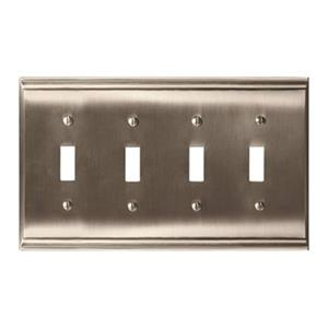 Amerock Canada Candler Satin Nickel 4-Toggle Wall Plate