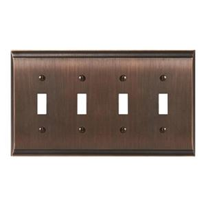 Amerock Canada Candler Oil Rubbed Bronze 4-Toggle Wall Plate