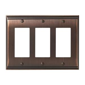 Amerock Canada Candler Oil Rubbed Bronze 3-Rocker Wall Plate
