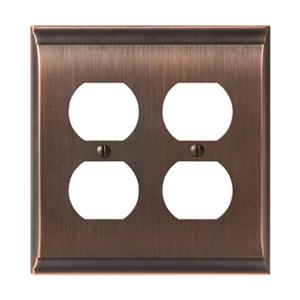 Amerock Canada Candler Oil Rubbed Bronze 2-Receptacle Wall Plate