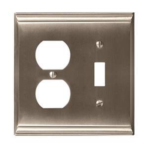 Amerock Canada Candler Satin Nickel 1-Toggle/1-Receptacle Wall Plate