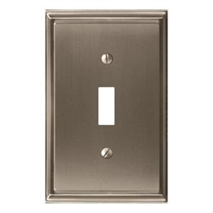 Amerock Canada Mulholland Satin Nickel 1-Toggle Wall Plate