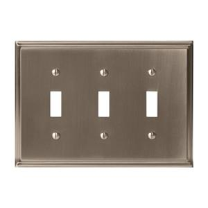 Amerock Canada Mulholland Satin Nickel 3-Toggle Wall Plate